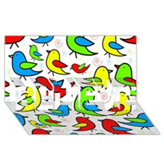 Colorful cute birds pattern BELIEVE 3D Greeting Card (8x4)
