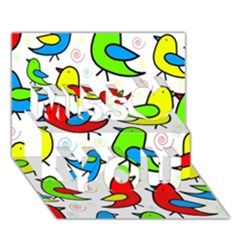 Colorful cute birds pattern Miss You 3D Greeting Card (7x5)