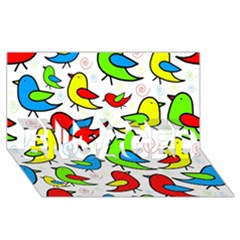 Colorful cute birds pattern ENGAGED 3D Greeting Card (8x4)