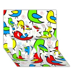 Colorful cute birds pattern WORK HARD 3D Greeting Card (7x5)
