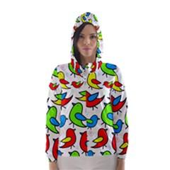 Colorful cute birds pattern Hooded Wind Breaker (Women)