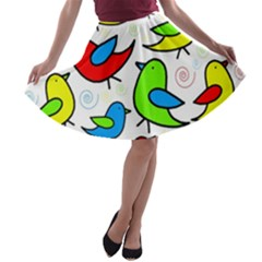 Colorful cute birds pattern A-line Skater Skirt
