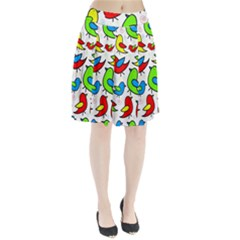 Colorful cute birds pattern Pleated Skirt