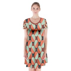 Modernist Geometric Tiles Short Sleeve V Neck Flare Dress