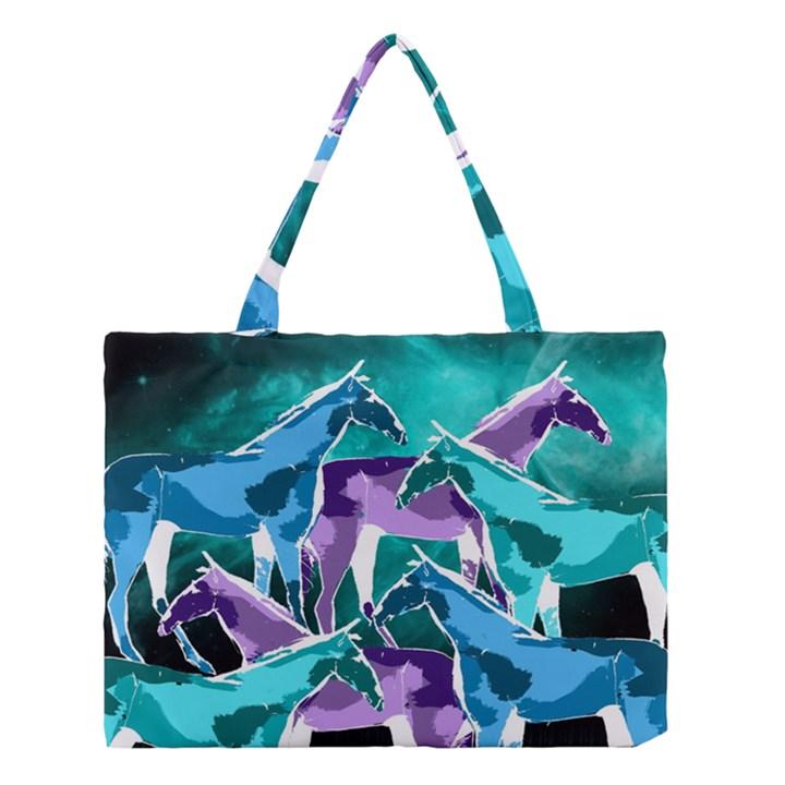 Horses under a galaxy Medium Tote Bag