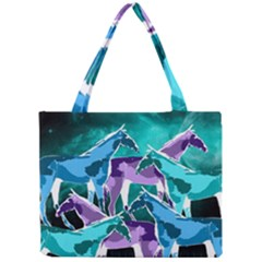 Horses Under A Galaxy Mini Tote Bag