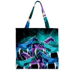 Horses Under A Galaxy Grocery Tote Bag