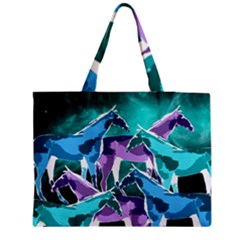 Horses Under A Galaxy Medium Zipper Tote Bag