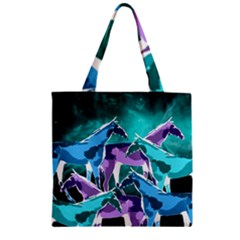 Horses Under A Galaxy Zipper Grocery Tote Bag