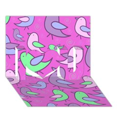 Pink birds pattern I Love You 3D Greeting Card (7x5)