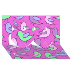 Pink birds pattern Twin Hearts 3D Greeting Card (8x4)