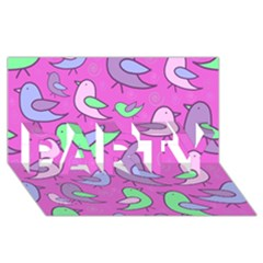 Pink birds pattern PARTY 3D Greeting Card (8x4)