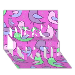 Pink birds pattern Miss You 3D Greeting Card (7x5)