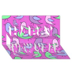 Pink Birds Pattern Happy New Year 3d Greeting Card (8x4)