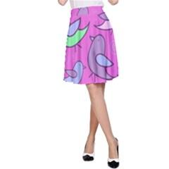 Pink Birds Pattern A Line Skirt