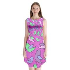 Pink birds pattern Sleeveless Chiffon Dress