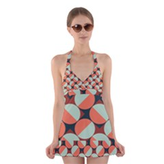 Modernist Geometric Tiles Halter Swimsuit Dress