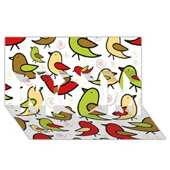 Decorative birds pattern MOM 3D Greeting Card (8x4)