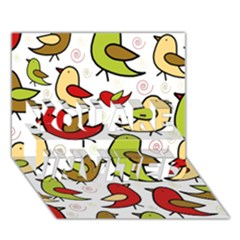 Decorative birds pattern YOU ARE INVITED 3D Greeting Card (7x5)