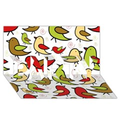 Decorative birds pattern PARTY 3D Greeting Card (8x4)