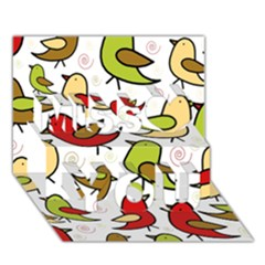 Decorative birds pattern Miss You 3D Greeting Card (7x5)