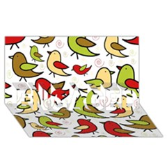 Decorative birds pattern ENGAGED 3D Greeting Card (8x4)