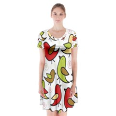 Decorative Birds Pattern Short Sleeve V Neck Flare Dress