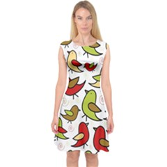 Decorative Birds Pattern Capsleeve Midi Dress