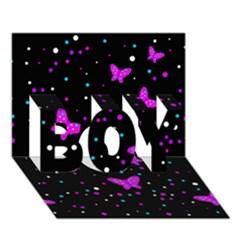 Pink butterflies  BOY 3D Greeting Card (7x5)