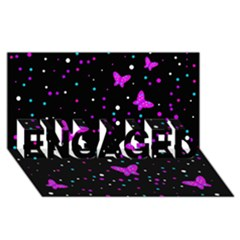 Pink butterflies  ENGAGED 3D Greeting Card (8x4)