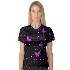 Pink butterflies  Women s V-Neck Sport Mesh Tee