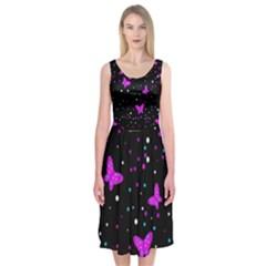 Pink butterflies  Midi Sleeveless Dress