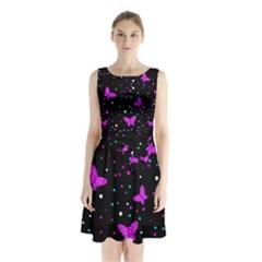 Pink Butterflies  Sleeveless Chiffon Waist Tie Dress