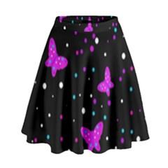 Pink butterflies  High Waist Skirt