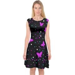Pink Butterflies  Capsleeve Midi Dress