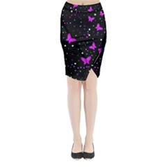 Pink butterflies  Midi Wrap Pencil Skirt