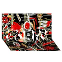 Artistic abstract pattern SORRY 3D Greeting Card (8x4)