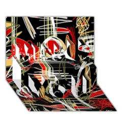 Artistic Abstract Pattern Miss You 3d Greeting Card (7x5)