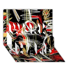 Artistic abstract pattern WORK HARD 3D Greeting Card (7x5)