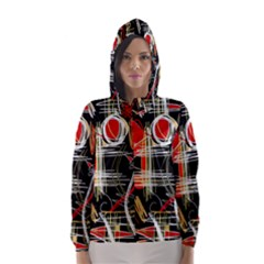 Artistic abstract pattern Hooded Wind Breaker (Women)