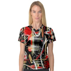 Artistic abstract pattern Women s V-Neck Sport Mesh Tee