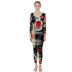 Artistic abstract pattern Long Sleeve Catsuit