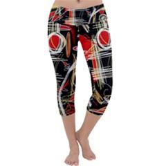 Artistic abstract pattern Capri Yoga Leggings