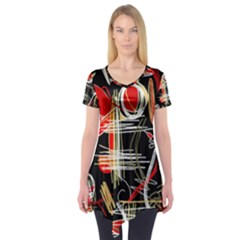Artistic abstract pattern Short Sleeve Tunic