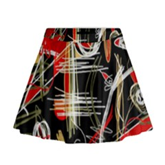 Artistic Abstract Pattern Mini Flare Skirt