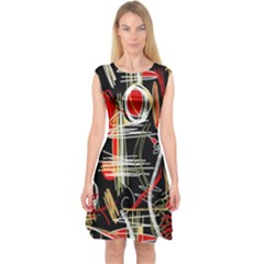 Artistic Abstract Pattern Capsleeve Midi Dress