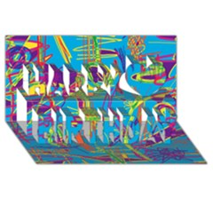 Colorful abstract pattern Happy Birthday 3D Greeting Card (8x4)