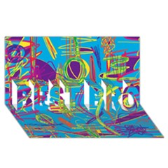 Colorful abstract pattern BEST BRO 3D Greeting Card (8x4)