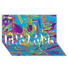 Colorful abstract pattern ENGAGED 3D Greeting Card (8x4)