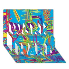 Colorful abstract pattern WORK HARD 3D Greeting Card (7x5)